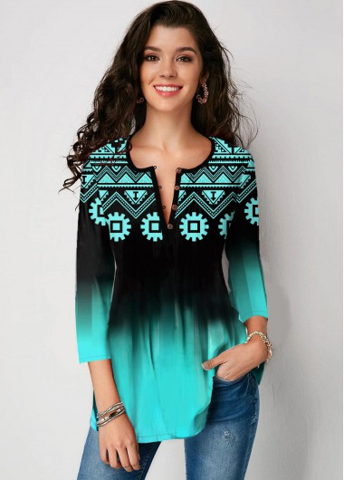 Three Quarter Sleeve Tribal Print Gradient Blouse - XS