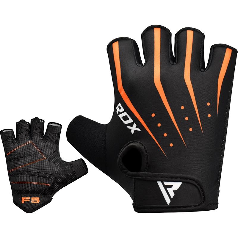 RDX F5 Gants de Musculation Grande Orange Lycra