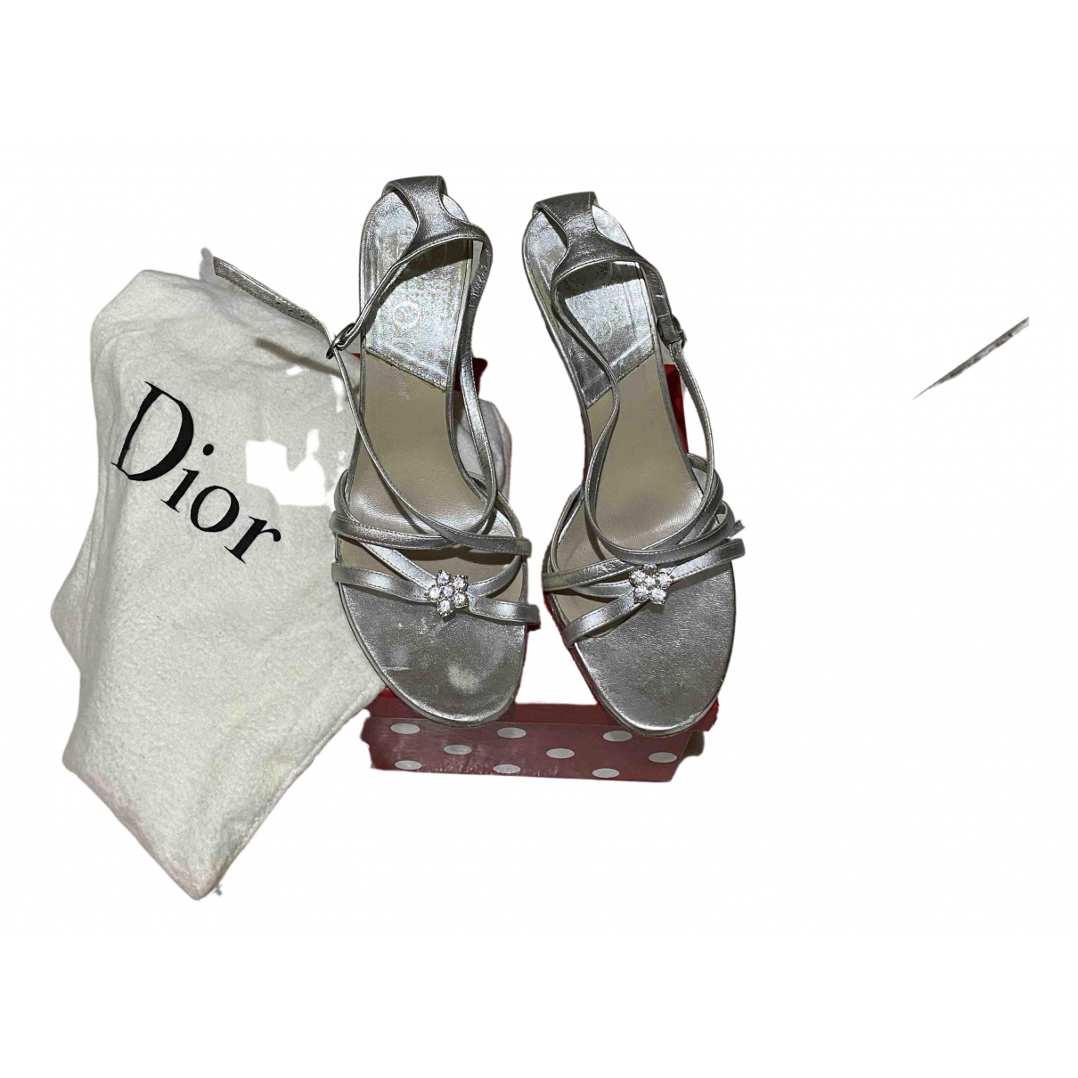 Dior N Silver Leather Sandals for Women 4 UK