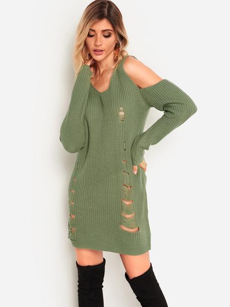Yoins Green Random Ripped Details V-neck Cold Shoulder Long Sleeves Sweater Dress