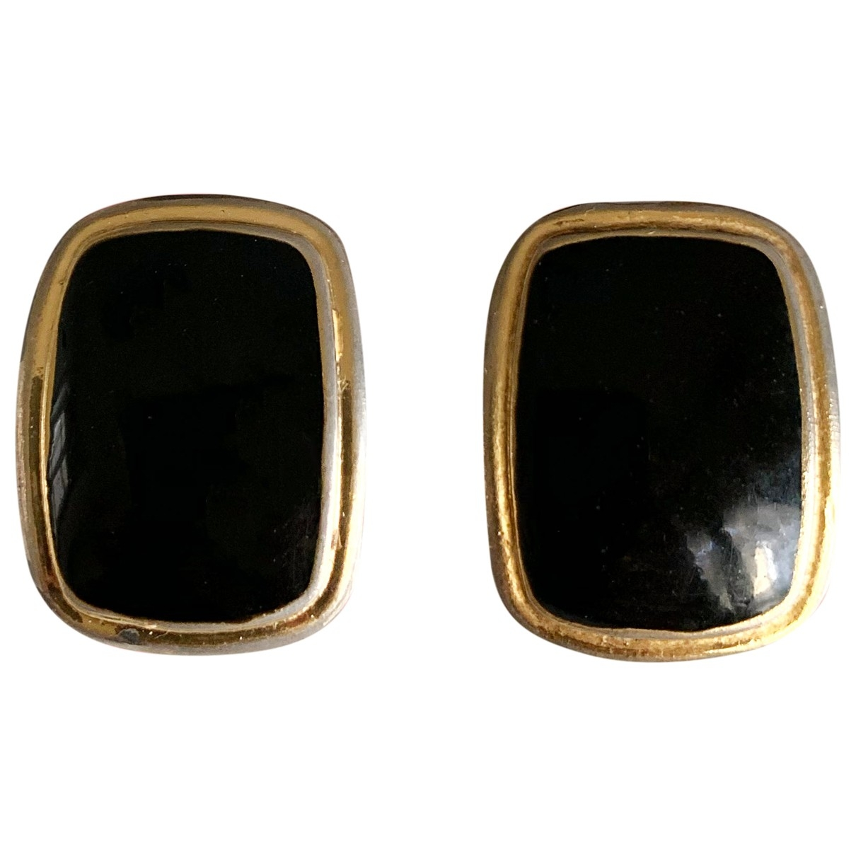 - Boucles doreilles Onyx pour femme en plaque or - noir