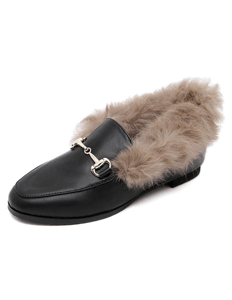 Milanoo Faux Fur Loafers Women's Black Flat Round Toe Slip-on Shoes With Metal Details