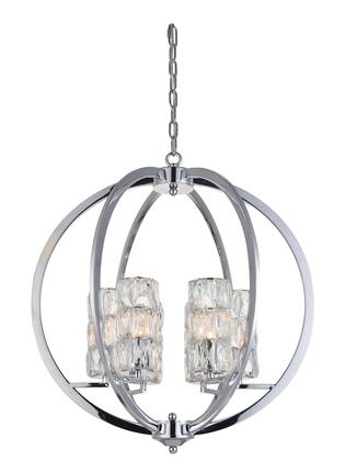 LA14 6-Light Chandelier with Iron Materials and 40 Watts in Chrome