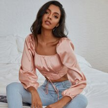 Double Crazy Ruched Bust Lantern Sleeve Lace Up Knot Satin Top