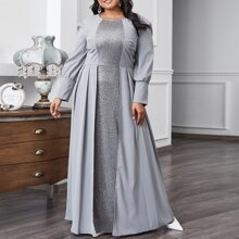 Plus Sequin Panel Zipper A-line Dress