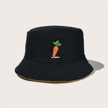 Men Carrot Embroidery Bucket Hat