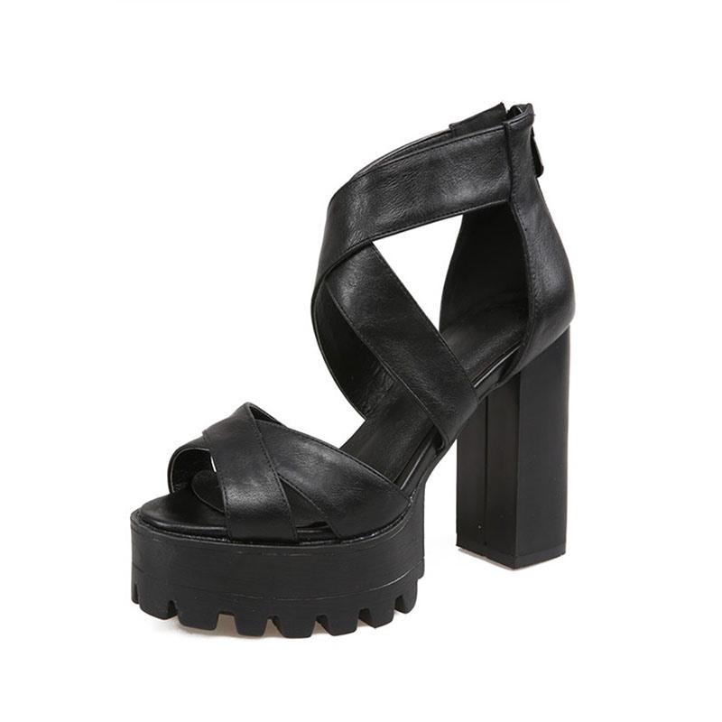Ericdress Chunky Heel Zipper Open Toe Plain Sandals
