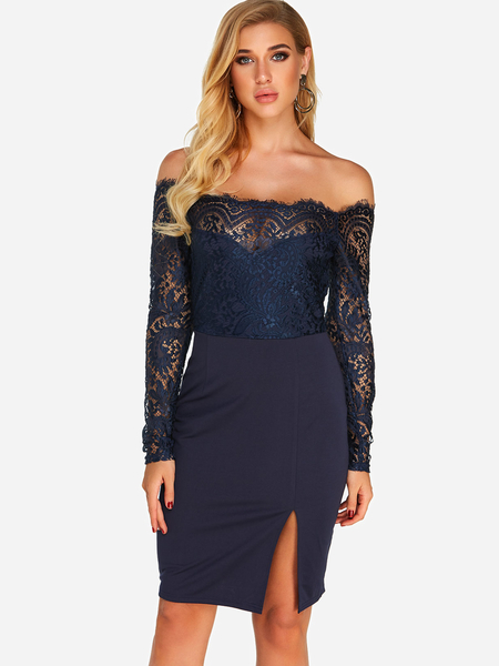 Yoins Navy Lace Insert Off Shoulder Long Sleeves Dress