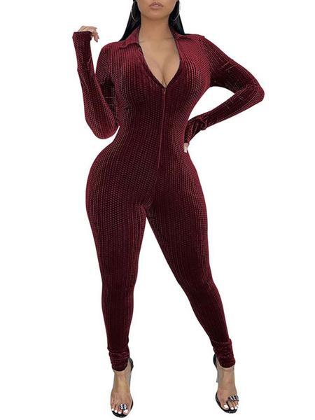 Milanoo Women Jumpsuit Burgundy V-Neck Long Sleeves Zipper Velour Summer Playsuit