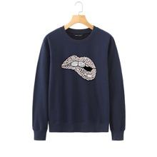 Sweatshirt mit Leopard Muster und Mund Muster