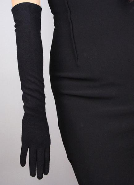 Milanoo Black Wedding Gloves Elbow Length Long Glove Vintage Style Cashmere Fingertips Winter Gloves For Bride