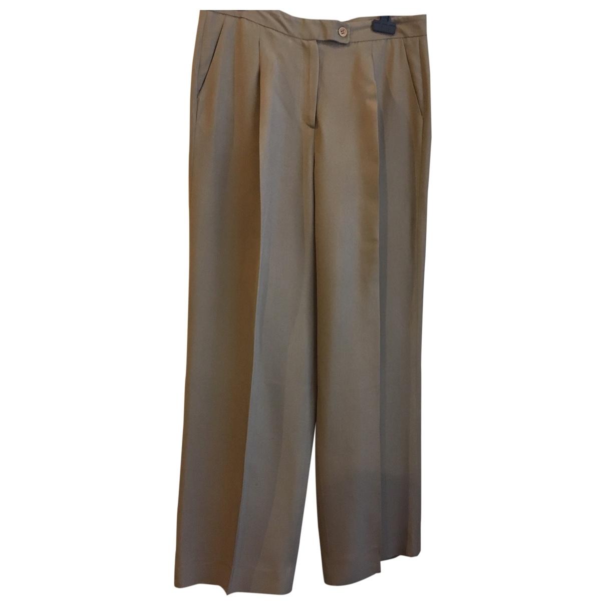 Giorgio Armani \N Brown Silk Trousers for Women 44 IT