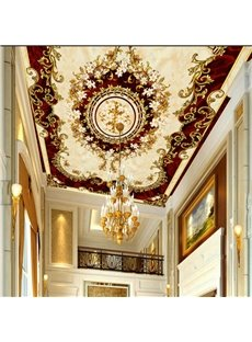 3D Golden Borders Claret Background PVC Waterproof Sturdy Eco-friendly Self-Adhesive Ceiling Murals