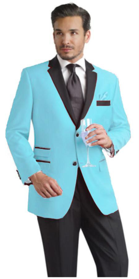 Sky Blue wo Button Notch Party Suit and Tuxedo and Blazer Black Lapel