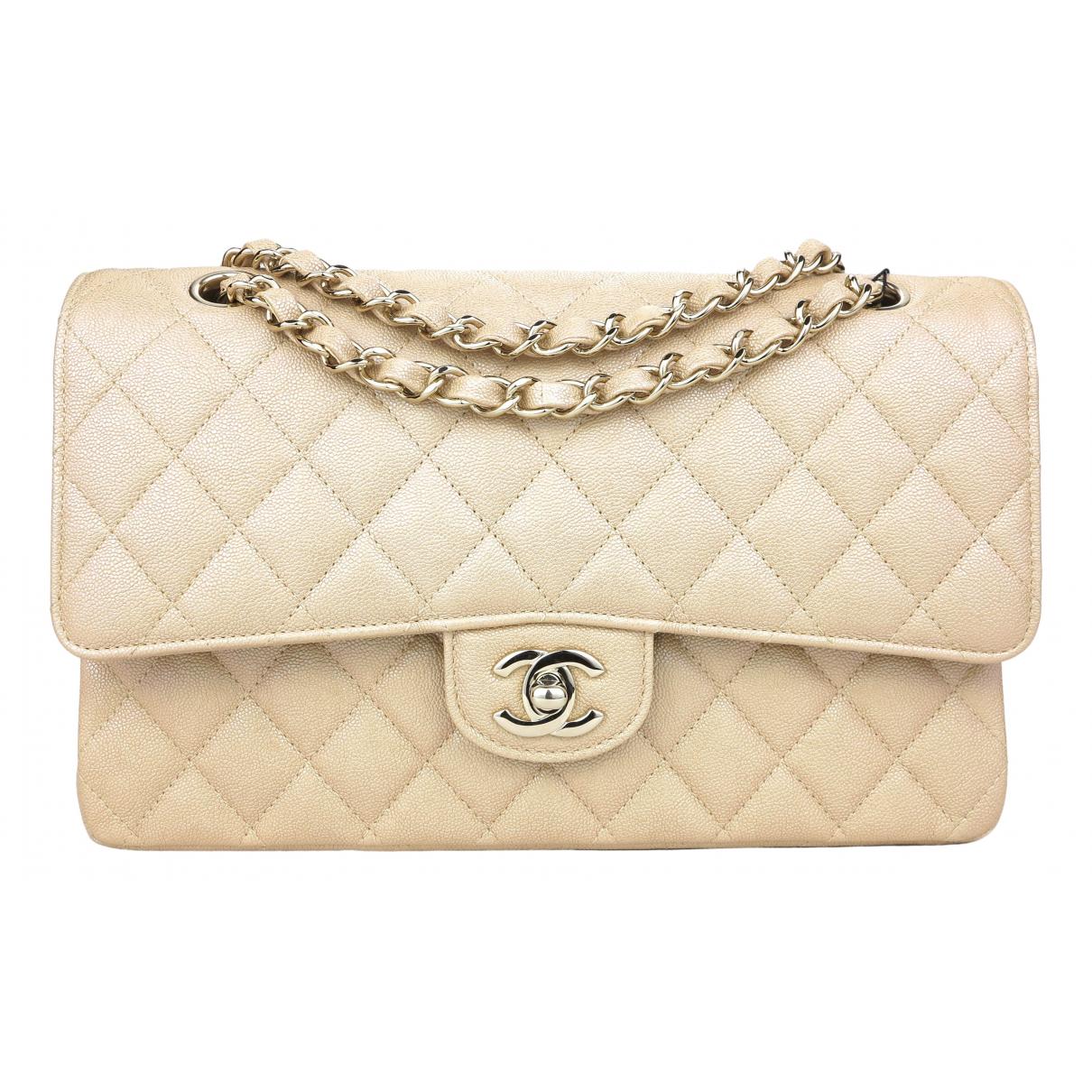 Chanel - Sac a main Timeless/Classique pour femme en cuir - beige