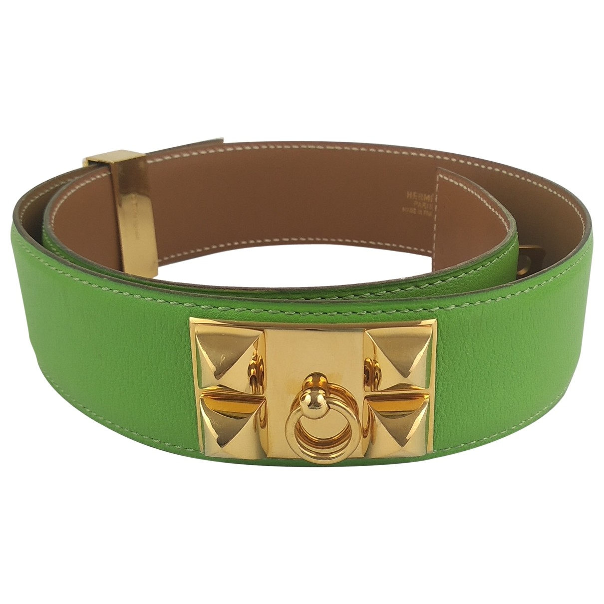 Hermes Collier de chien Guertel in  Gruen Leder