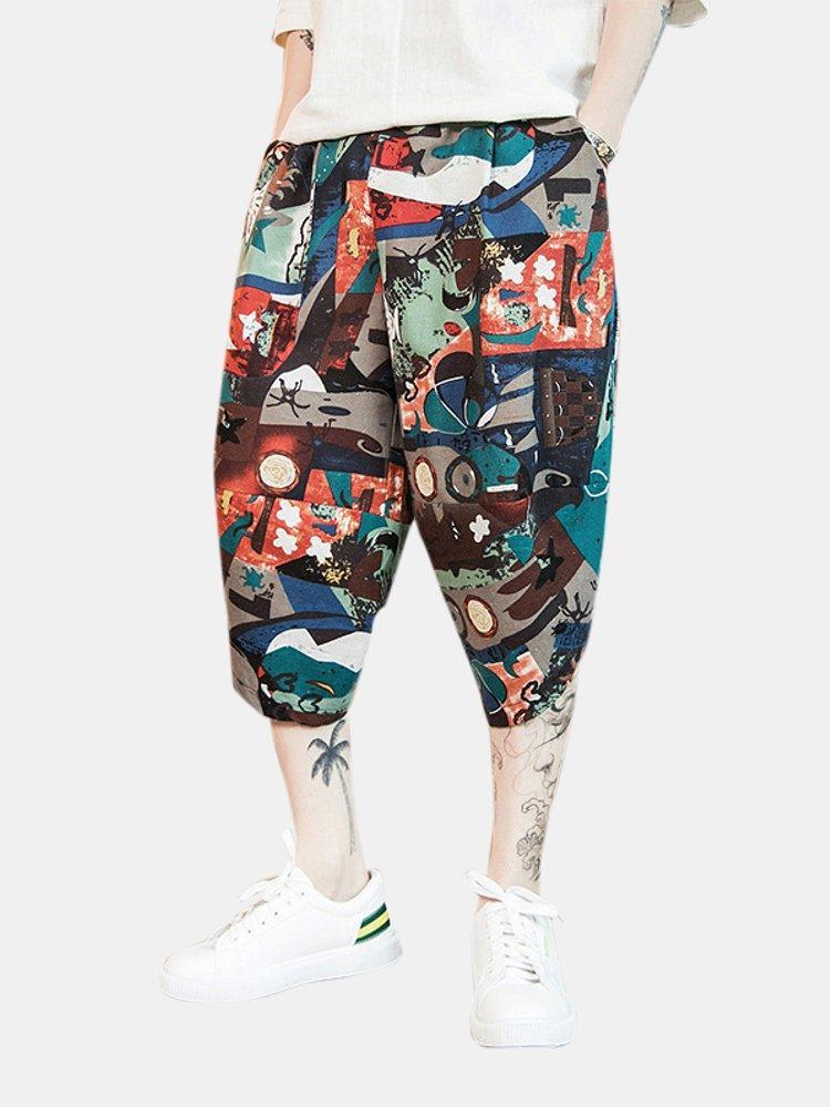 Men Vintage Chinese Style Ethnic Pattern Cropped Harem Pants