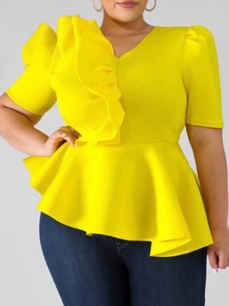 Ericdress V-Neck Plain Asymmetric Short Sleeve Standard Women's Blouse