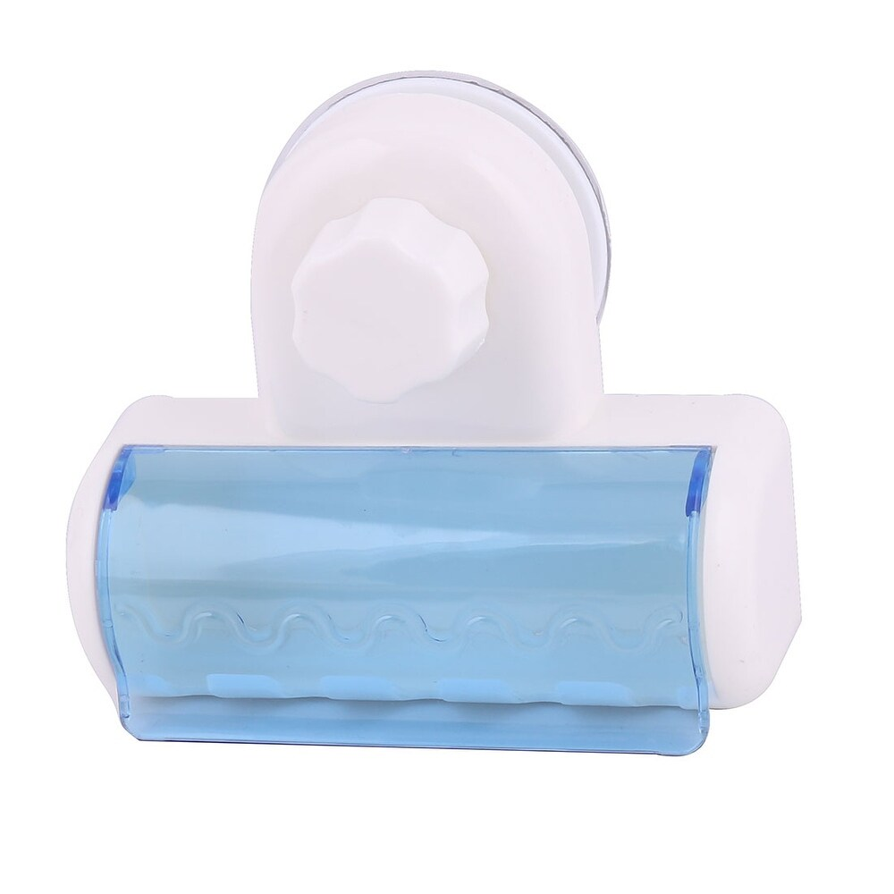 Household Bathroom Plastic Wall Mounted Suction Cup Five Racks Toothbrush Holder - Blue, White (Blue, White)