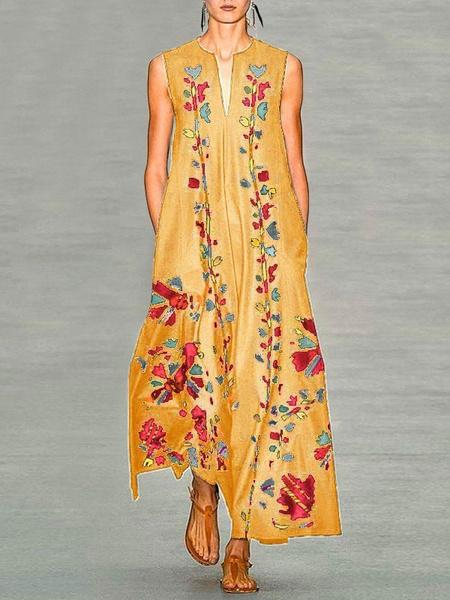 Milanoo Sin mangas de los vestidos maxi amarillo Impreso con cuello en V de poliester flojo largo vestido causal