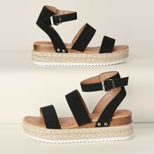 Double Band Open Toe Flatform Espadrille Sandals