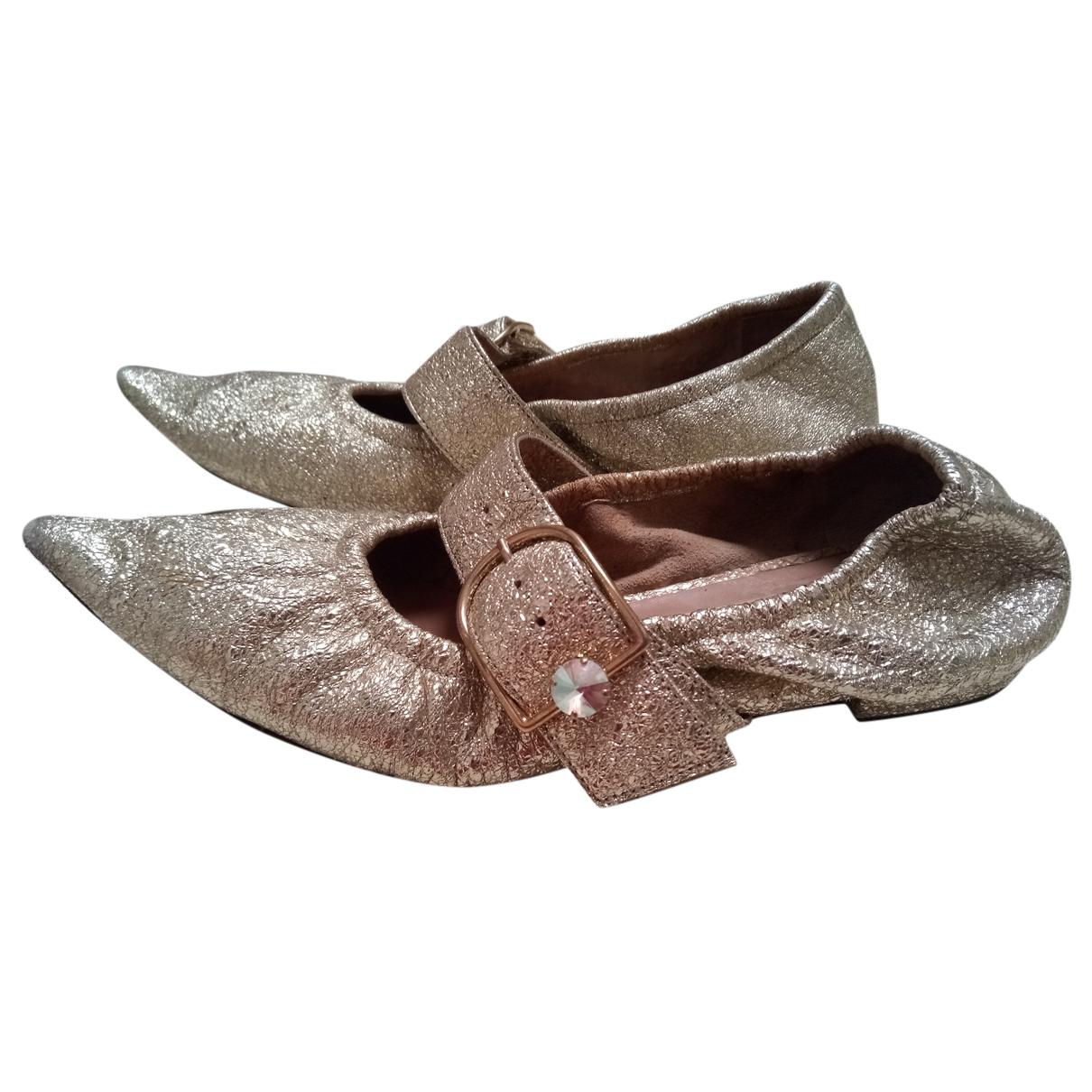 Autre Marque N Gold Leather Ballet flats for Women 38.5 EU