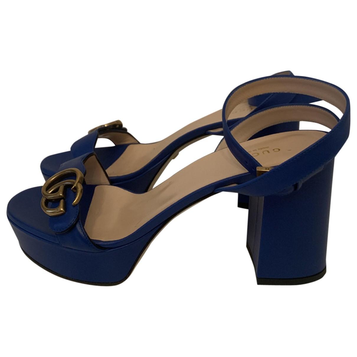 Gucci - Sandales Marmont pour femme en cuir - bleu