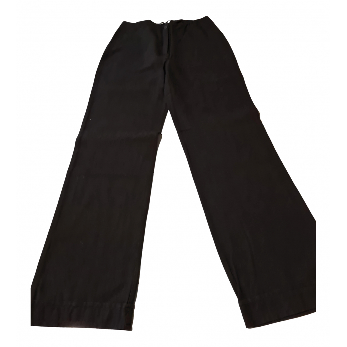 Non Signé / Unsigned Hippie Chic Black Linen Trousers for Women 44 FR