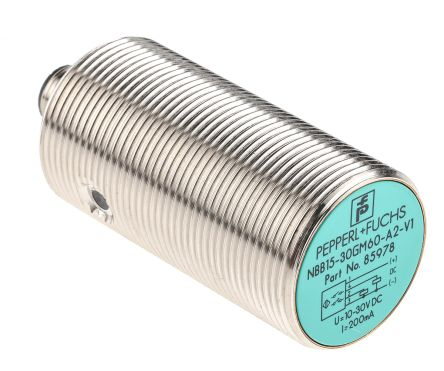 Pepperl + Fuchs M30 x 1.5 Inductive Sensor - Barrel, PNP-NO/NC Output, 15 mm Detection, IP67, M12 - 4 Pin Terminal