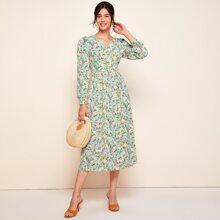 Kleid mit Knopfen vorn und Blumen Muster