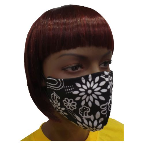 Fancy Cloth Face Mask for Adult - Black Flower