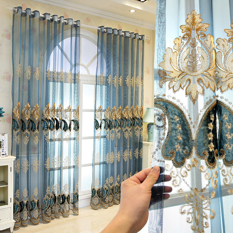 Luxury and Elegant Blue Embroidered Custom Living Room Sheer Curtains Breathable Voile Drapes No Pilling No Fading No off-lining
