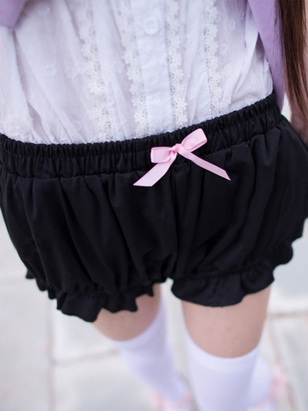 Milanoo Arcos de Bloomers Lolita negro algodon Lolita cortos para mujeres
