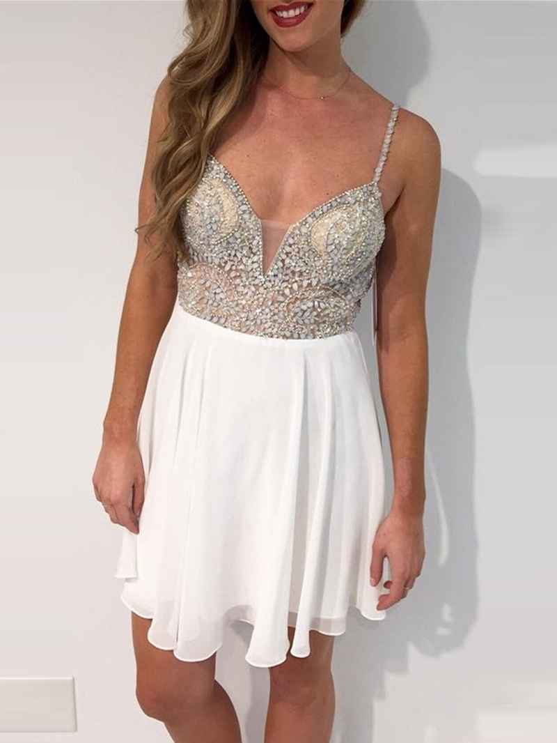 Ericdress A-Line Spaghetti Straps Short Beading Homecoming Dress