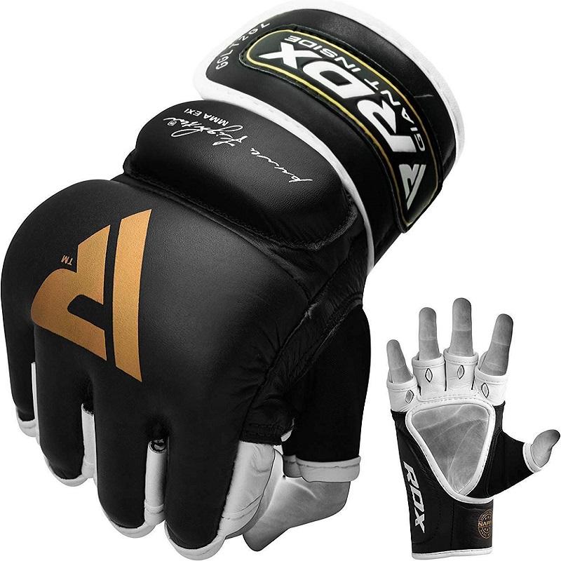 RDX T2 MMA Kampfhandschuhe Leder Open Palm Gel Gepolstert Grosse Schwarz/Gold