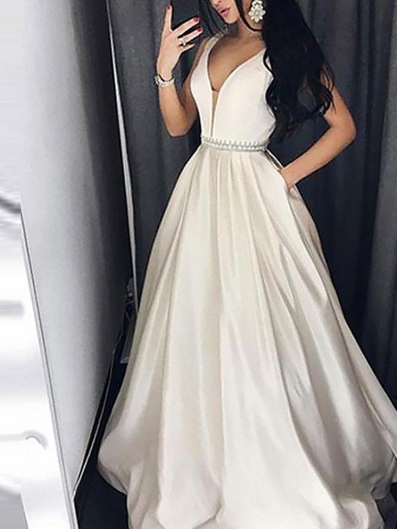 Ericdress Floor-Length V-Neck Beading Evening Dress