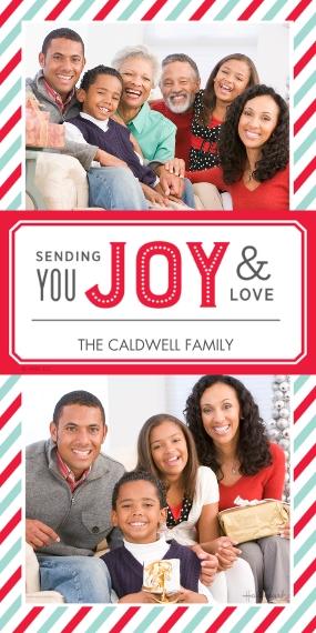 Christmas Photo Cards 4x8 Flat Card Set, 85lb, Card & Stationery -Joy and Love Stripes