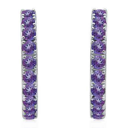Marvel Universe Fine Jewelry By Marvel Genuine Purple Topaz Sterling Silver 4.7mm Marvel Hoop Earrings, One Size , No Color Family