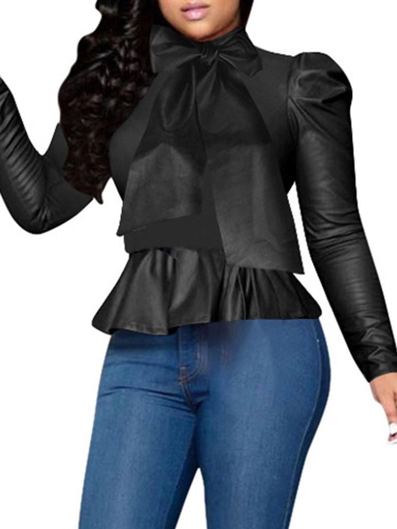 Ericdress Plain Bowknot Regular Long Sleeve Standard Women's Blouse
