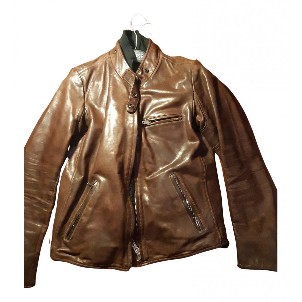 Golden Goose - Blouson   pour femme en cuir - marron