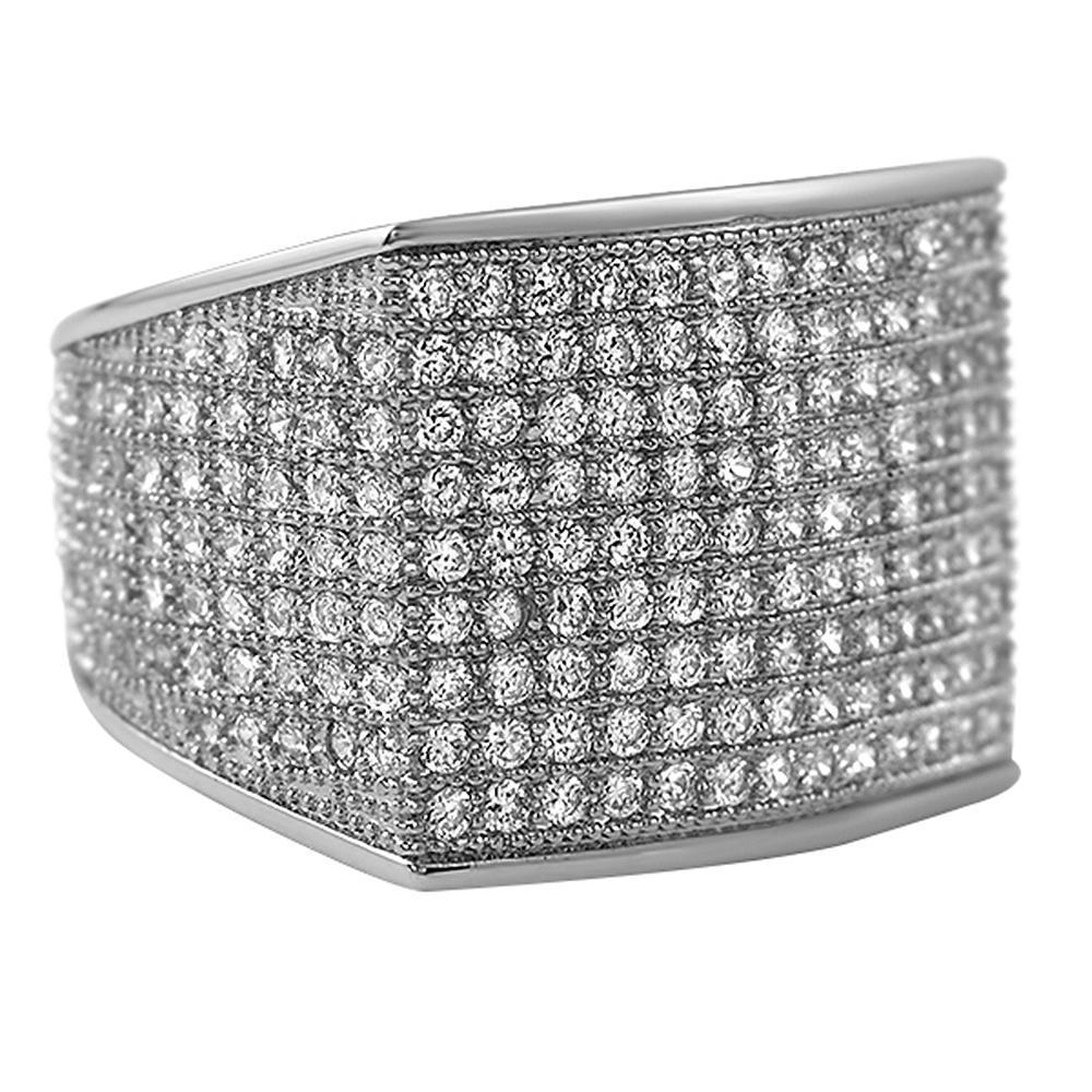 Thick Block Rhodium CZ Bling Bling Ring
