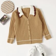 Girls Contrast Collar Button Front Sweater