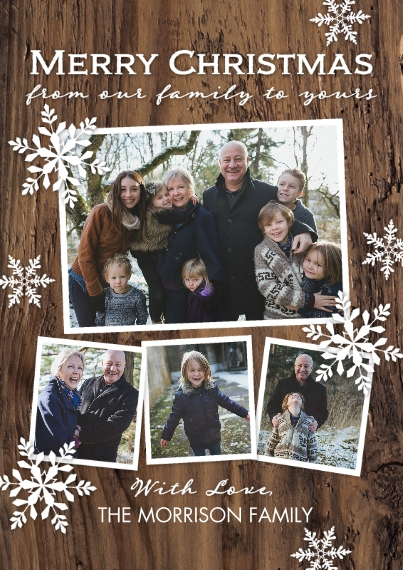 Christmas Photo Cards Flat Glossy Photo Paper Cards with Envelopes, 5x7, Card & Stationery -Christmas Wintery Wood Flakes