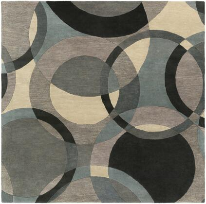 Forum FM-7193 8' Square Modern Rug in Khaki  Denim  Charcoal  Black  Taupe  Medium
