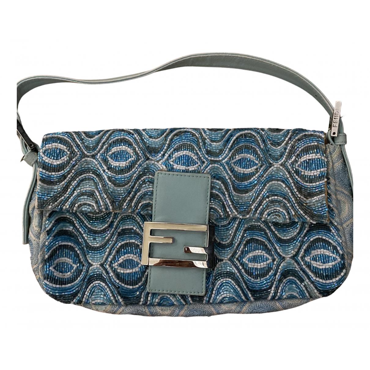 Fendi Baguette Handtasche in  Blau Mit Pailletten