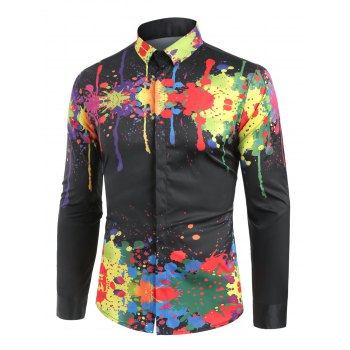 Turndown Collar Colorful Splatter Paint Pattern Long Sleeve Shirt