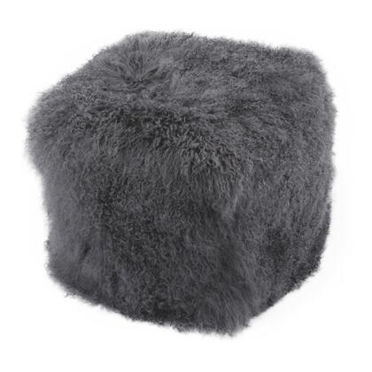 XU-1009-07 Pouf with Polyester Bean Fill in Gray