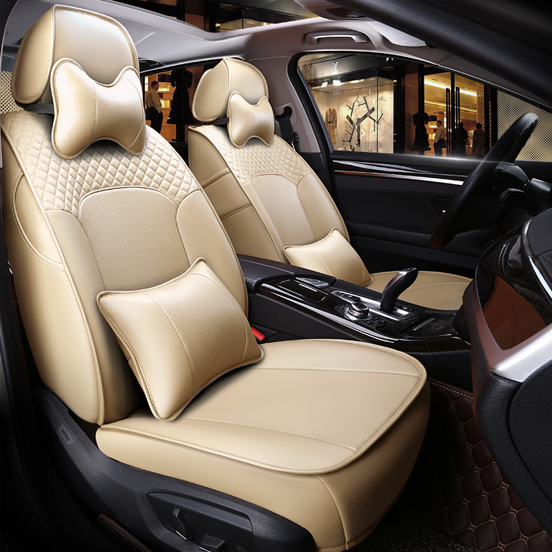 Luxury Plain Pattern Simple Style Real Cow Leather Custom Car Seat Cover