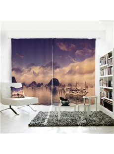 Mountains and Lake with Boats Pattern 3D Polyester Curtain