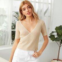 Solid V Neck Knit Top